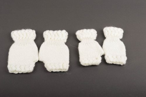 Handmade white crocheted mitts 2 stylish festive mitts beautiful accessories - MADEheart.com