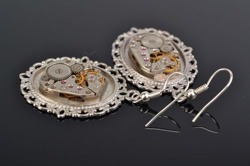 Handmade designer steampunk earrings with lace metal basis and clock mechanism - MADEheart.com