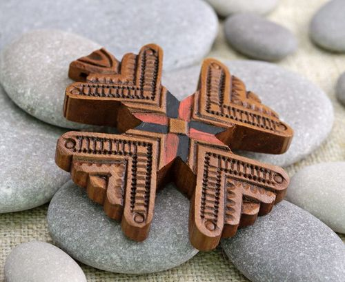 Wooden carved pectoral cross - MADEheart.com