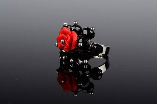Ring black and red Scarlet Flower - MADEheart.com
