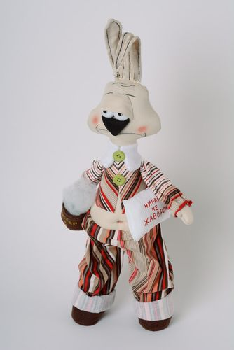 Handmade fabric soft toy with wire frame Hare - MADEheart.com