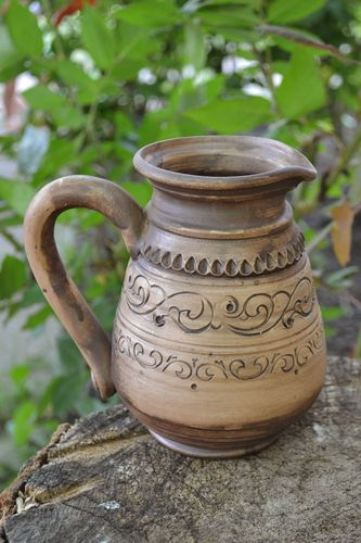 Beautiful homemade designer clay jug with pattern 500 ml - MADEheart.com