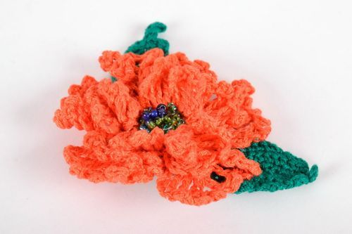 Crocheted brooch hairpin Orange Poppy - MADEheart.com