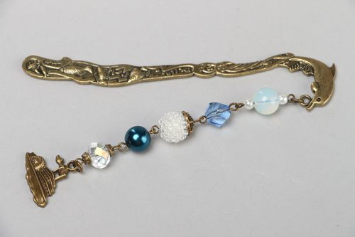Handmade bronze colored metal bookmark with Czech and glass beads charm  - MADEheart.com