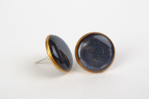 Handmade small stud earrings with jewelry glaze of dark blue color for women - MADEheart.com