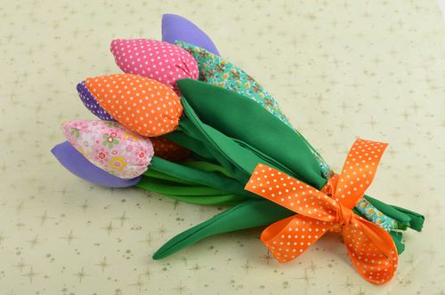 Artificial handmade flowers decorative use only cute 9 textile flowers - MADEheart.com