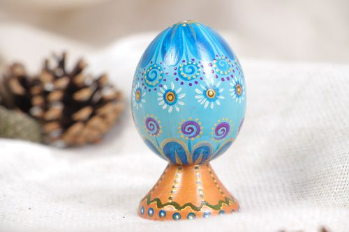 Handmade decorative blue painted wooden egg on stand for Easter decoration - MADEheart.com