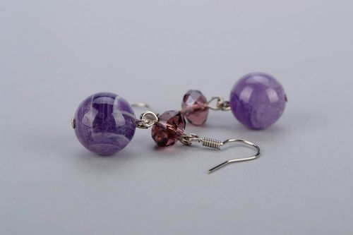 Ball earrings with amethyst - MADEheart.com