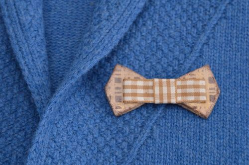 Handmade bow tie brooch accessory for women handmade cold porcelain bijouterie - MADEheart.com