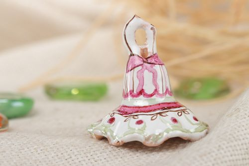 Gentle homemade ceramic bell painted with enamel and dyes - MADEheart.com
