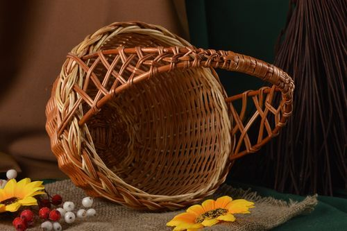 Unusual handmade woven basket interior decorating home goods gift ideas - MADEheart.com