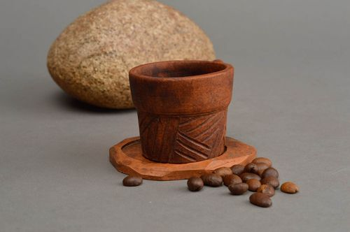 Brown ethnic cup ceramic cute handmade utensils unusual glass made of clay - MADEheart.com