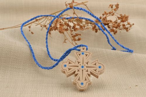 Wooden cross necklace with beads inlay - MADEheart.com