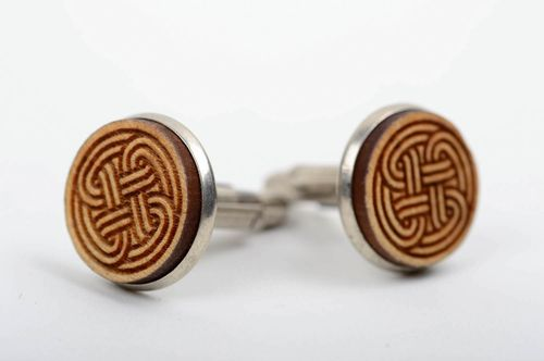 Handmade unique wooden cufflinks on metal base unique designer present for men - MADEheart.com