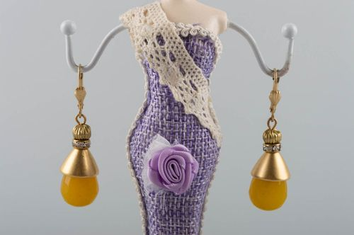 Earrings made of natural stones with yellow jade handmade brass accessory - MADEheart.com