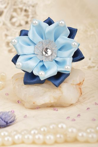 Designer childrens scrunchy with flowers blue large handmade hair accessory - MADEheart.com