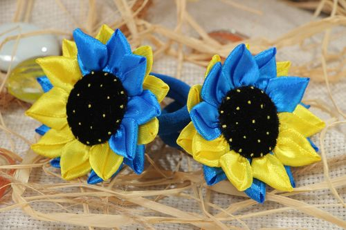 Handmade stylish scrunchies set of 2 pieces hair accessories with satin flowers  - MADEheart.com