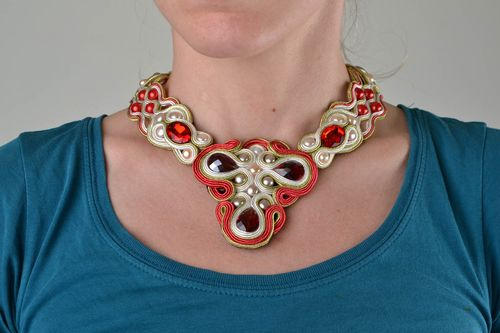 Handmade soutache necklace with fresh water pearls and rivoli beads Passion - MADEheart.com