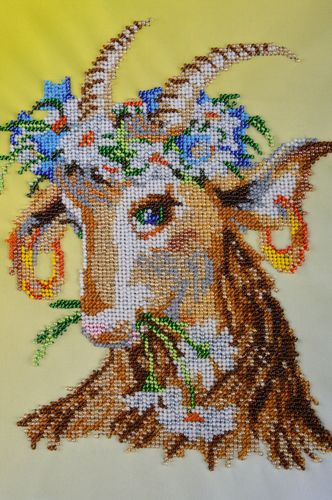 Cute handmade wall picture embroidered with beads without frame Pretty Goat - MADEheart.com