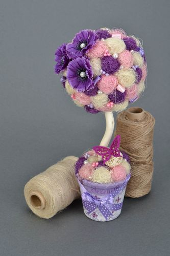 Handmade decorative tree topiary with flowers and beads in violet color palette - MADEheart.com