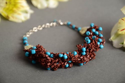 Handmade designer crocheted wrist bracelet with brown and blue Czech beads - MADEheart.com
