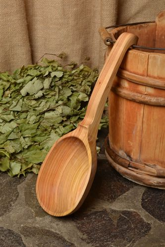 Wooden spoon for a bath and sauna large with long handle handmade scoop - MADEheart.com