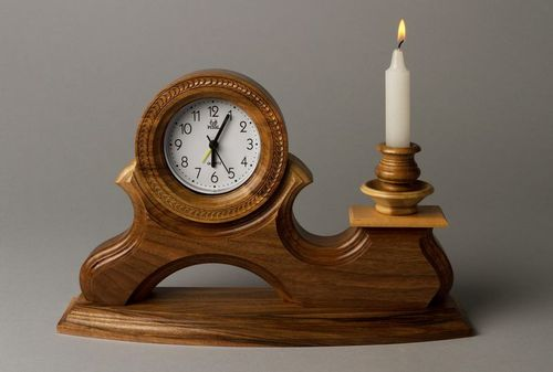 Wooden clock with candlestick - MADEheart.com