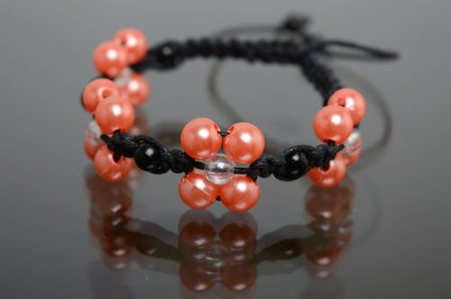 Macrame woven polyester cord bracelet with ceramic beads - MADEheart.com