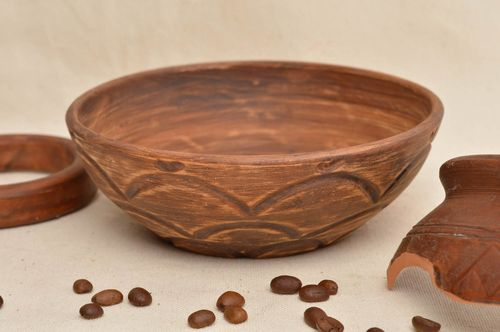 Unusual homemade clay bowl beautiful ceramic bowl soup plate tableware designs - MADEheart.com