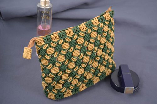 Handmade designer macrame woven cosmetics bag with geometric ornament - MADEheart.com