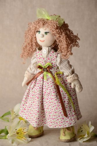 Designer fabric doll made of natural materials with movable limbs home decor - MADEheart.com