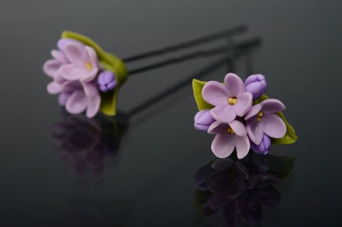 Cold porcelain hair pin Lilac - MADEheart.com
