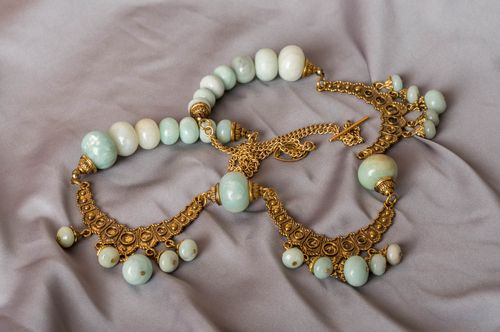 Womens beautiful handmade designer long brass necklace with natural stone beads - MADEheart.com