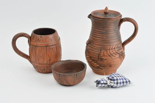 Handmade decorative pottery set of ceramic tableware clay tableware for kitchen - MADEheart.com