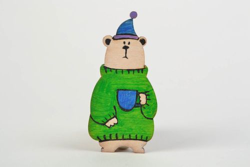 Homemade wooden brooch with acrylic painting Bear for children - MADEheart.com