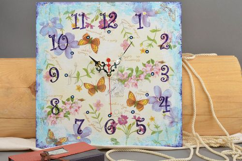 Square handmade clock stylish cute wall decor cute butterfly accessory - MADEheart.com