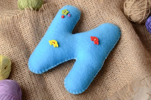 Handmade small blue felt educational soft toy letter N with decor for children - MADEheart.com