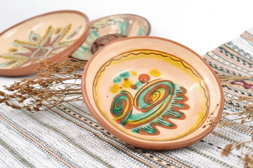 Beautiful handmade decorative ceramic plate painted with glaze - MADEheart.com
