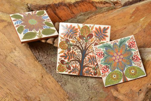Set of 3 handmade decorative painted colorful ceramic tiles with floral motives - MADEheart.com