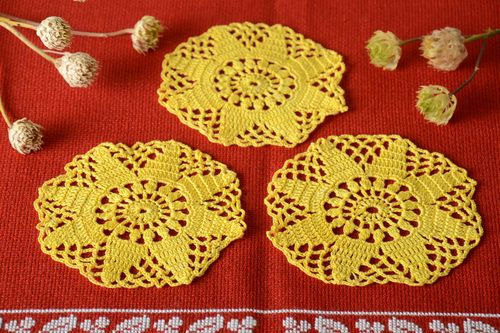 Handmade crochet openwork napkin crocheted table napkin kitchen interior ideas - MADEheart.com