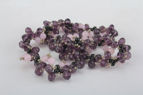 Unusual necklace made of rose quartz and agate - MADEheart.com