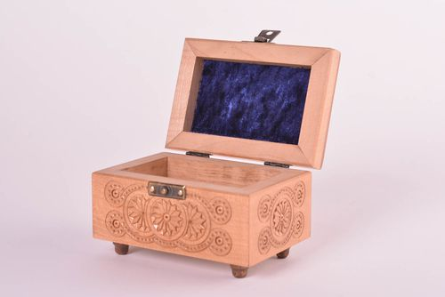 Handmade box jewelry box carved wood box decorative items    handmade products - MADEheart.com