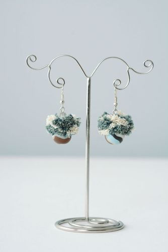 Plastic and fabric earrings Denim - MADEheart.com