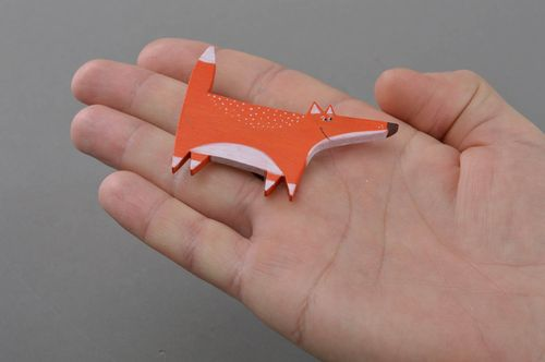 Beautiful bright painted plywood brooch in the shape of orange fox - MADEheart.com