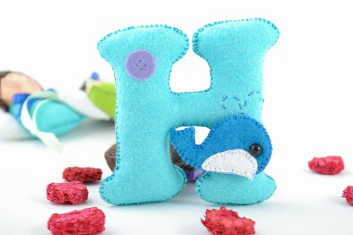 Beautiful handmade designer decorative soft letter H with toy whale - MADEheart.com
