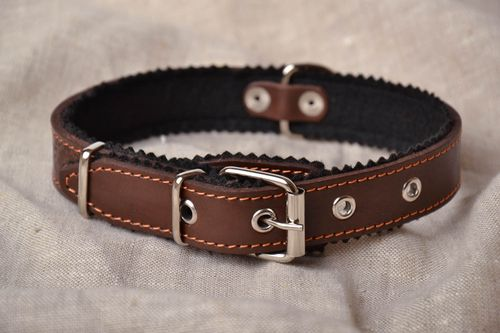 Leather dog collar with padding polyester - MADEheart.com