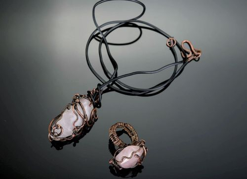Jewelry set with pink quartz Pink Clouds - MADEheart.com