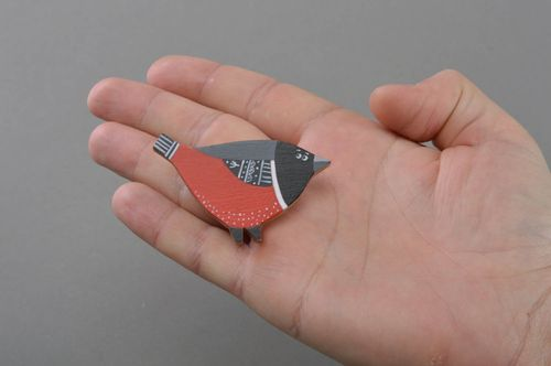 Handmade designer painted plywood brooch in the shape of bird - MADEheart.com