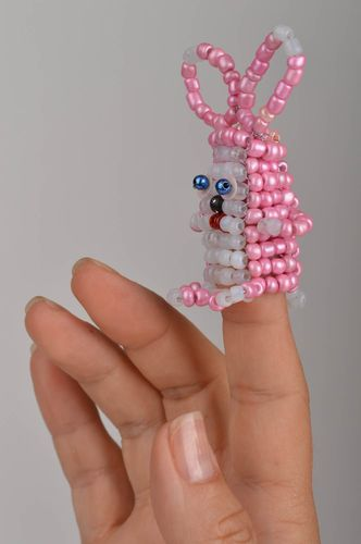 Handmade decorative finger toy rabbit made of Chinese beads for children  - MADEheart.com