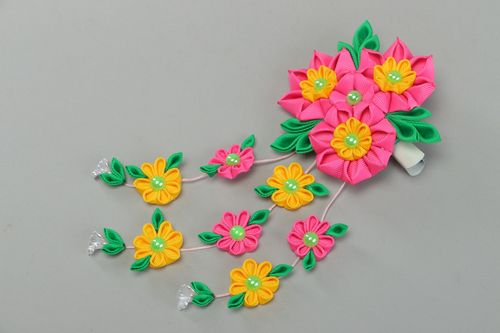 Bright colorful handmade hair clip with large ribbon flower and charms - MADEheart.com